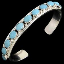 Navajo Native American Classic Sterling Silver Turquoise Row Bracelet s6.5-8