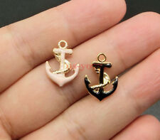 10pcs Anchor Charms Sailing Ship Charms Gold Plated Enamel Charms 12x17mm 0257