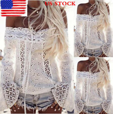 Women Retro Off Shoulder Long Flared Sleeve Tops Lace Casual Blouse T Shirt Tee