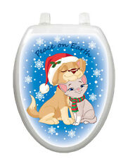 Toilet Tattoos Christmas Toilet Lid Cover Vinyl Cover Peace on Earth Cat and Dog