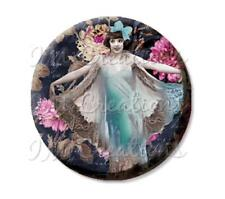 "Handmade 2.25"" Pocket Mirror, Magnet or Pin Vintage 1920's Dainty Flapper Girl"