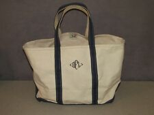 LL BEAN Boat & Tote Canvas Bag Freeport Maine USA LARGE Size Blue Trim
