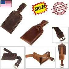 Leather Luggage Tag Travel Flight Name Tag ID Lable Overnight Duffle Bag Tags