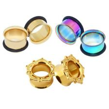 3pairs/lot Stainless Steel Double Flare Flesh Ear Tunnels Plugs Earlets Gauges