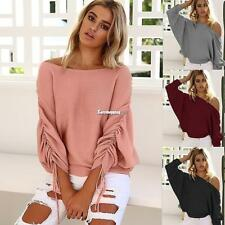 Women Off Shoulder Elastic Ruched Batwing Long Sleeve Solid Knitted ES9P