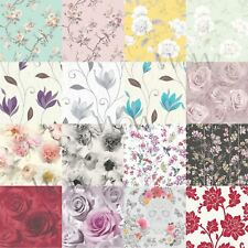 FLORAL WALLPAPER - VARIOUS DESIGNS AND COLOURS - FLOWERS ROSES BIRDS