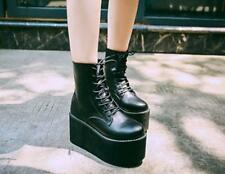 Womens lace up platform high top Gothic Creepers ankle boots Casual punk Shoes