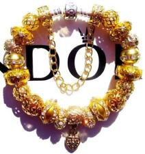 PANDORA Sterling Silver CHARM Bracelet GLITTERY GOLD with Gold Plated Beads CC65
