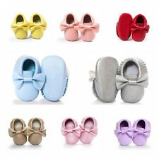 NEW Baby Kids Tassel Soft Sole Leather Shoes Infant Boy Girl Toddler Crib 0-18M