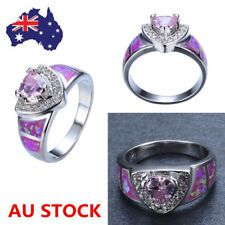 Women Ladies Pink Opal White Gold Plated Heart Ring Bridal Princess Jewelry Gift