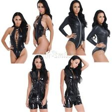 Sexy Womens Wet Look Jumpsuit Leather Lingerie Bodysuit Catsuit Clubwear Costume