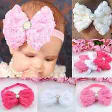Baby Girls Rose FLOWER Bow Hairband Soft Elastic Headband Hair Accessories Band