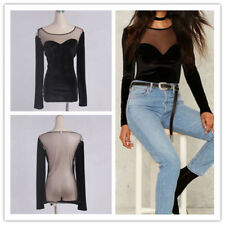 Women Sexy Solid Mesh Spliced Scoop Neck Long Sleeve See Through Stretchy Tops