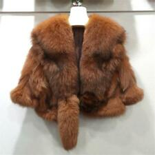 Luxury Womens Real Fox Fur short Coat Jacket Cape Wrap Poncho winter warm Poncho