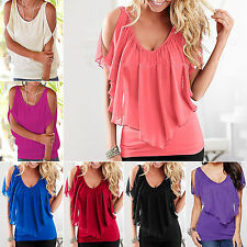 Womens Cold Shoulder Short Sleeve Tops Summer Tunic Loose Party  Blouse T-shirt
