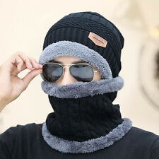 Knit Winter Cap Neck Warmer Snood Scarf Thermal Skully Hat Baggy Beanie Unisex