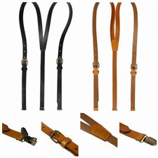 New Mens Womens Genuine Leather Suspenders Clip-on Y-Back Braces Retro Dress