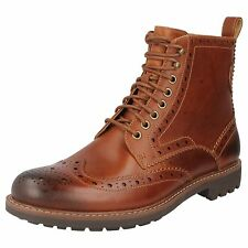 MONTACUTE LORD MENS CLARKS LACE UP TAN LEATHER CASUAL BROGUE ANKLE BOOTS G FIT
