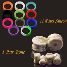 12pair Thin Silicone Flexible Skin Ear Tunnel Plugs Hollow Gauges Stone Expander