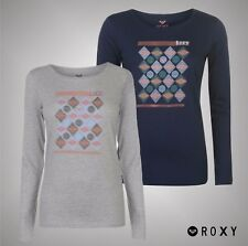 Ladies Branded Roxy Long Sleeves GeoLine Tee Shirt Cotton Top Size 10 12 14 16