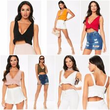 WOMENS LADIES V NECK RUFFLE FRILL STRAP CROCHET PLUNGE CROPPED TOP BRALET SHIRT