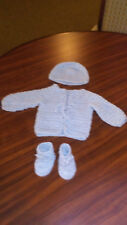 New 3 PcHandmade Crochet Baby Sweater Set Size 0-3 Months Choose Color From Menu
