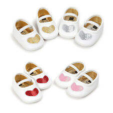 Girls Sequins Heart Flat Slip On Princess Dance Shoes Leather Sandals Shoes Size