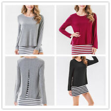 Women Stripe Print Crew Neck Long Sleeve Back Slit Faux Twinset Shirt Mini Dress