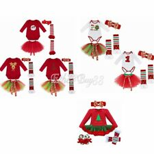 4Pcs Christmas Newborn Baby Girl Tutu Romper Dress Outfits Clothes Bodysuit Gift