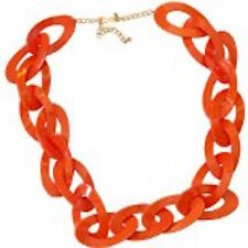 KENNETH JAY LANE-34″INCH RESIN OVAL LINK NECKLACE-CORAL (ORANGE)