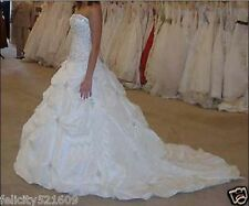 NEW White/ivory Formal Bridal Ball Gown Train Wedding Dress Size 6-8-10-12-14-16