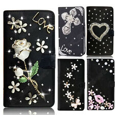 New Rhinestone Diamond Bling Crystal Case Cover Black PU Leather Shell for LG