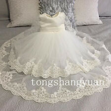 2017 Baby Baptism Dresses Lace Applique Christening Gowns/Outfits Custom +Bonnet
