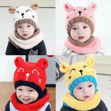 Winter Baby Animal Ear Knitted Hats Boys Girls Hat Scarf Cute Cotton Toddler Hat