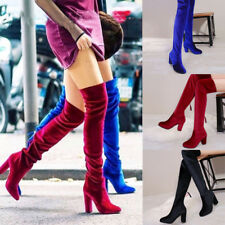 Womens Velvet Fashion Over The Knee Boots Block High Heels Pointed Shoes Size