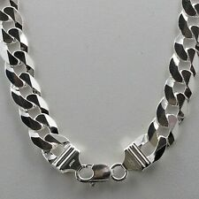 """30"""" 12mm Solid 925 Sterling Silver Cuban Link Curb Chain Italy Heavyweight Mens"""