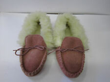 LADIES MOCASSIN SUEDE SLIPPER PINK FAUX FUR LINED