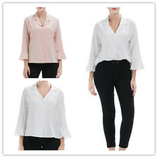 Women Solid Pointed Collar Long Ruffle Sleeve Button Down Loose Shirts Tops