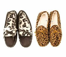 Ladies Warm Winter Moccasin Slippers Animal Print (Sizes 6-10)