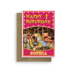 1st Happy Birthday card for girl, edit name personalised bear horse pink