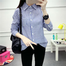 Women's Striped Print Button Down Long Sleeve Pointed Collar Slim Fit Shirt Tops