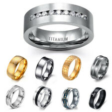 Trendy Men Women Stainless Steel Wedding Engagement Band Ring Party Size 6-13