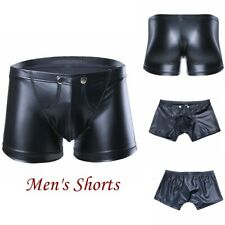 New Mens Wetlook Underwear Faux Leather Zipper Pouch Shorts Tights Boxer pants