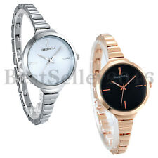 Stainless Steel Wrist Watch for Women Luxury Silver Rose Gold Tone Analog Quartz