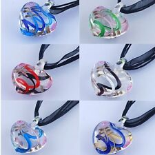 Fashion Transparent Heart Lampwork Glass Leather Pendant Necklace Womens Jewelry