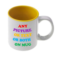 Personalised mug - any image or message printed- yellow inner- fast delivery!