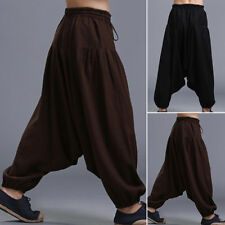 Stylish Cotton Linen Mens Harem Baggy Pants Japanese Loose Casual Boho Trousers