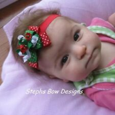 CHRISTMAS RED GREEN WHITE DOTS DAINTY LAYERED KORKER HAIR BOW HEADBAND or CLIP