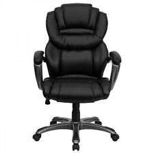 Executive Office Chair with Padded Loop Arms Furniture Leather Black Brown Seat