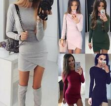 Women's Solid Round Neck Long Sleeves Wrap Asymmetrical Package Hip Mini Dress
